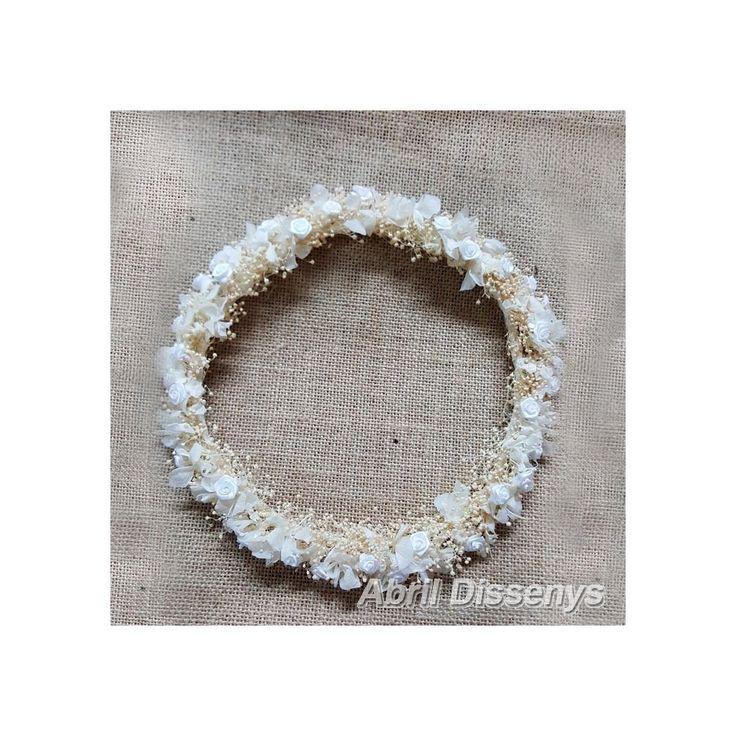 Corona con Flor Seca color Blanco y Beige Colección Tura