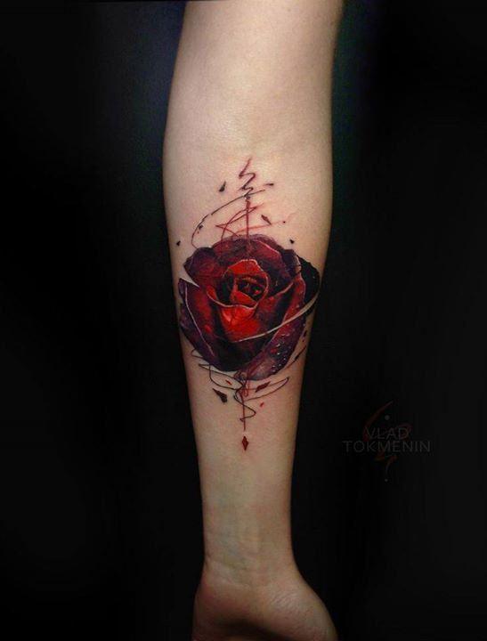 #RoseTattoos: Rose Tattoo von Vlad Tokmenin   – rose art tattoo