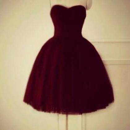 cute maroon sweetheart tulle party dress, #cutedress, #teenfashion, #promdress