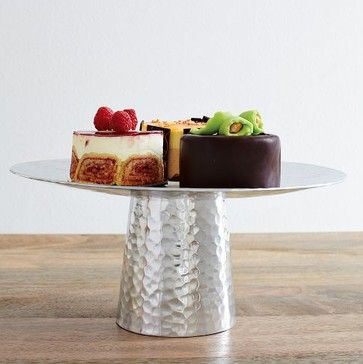 Hammered Metal Cake Stand Modern Serving Utensils