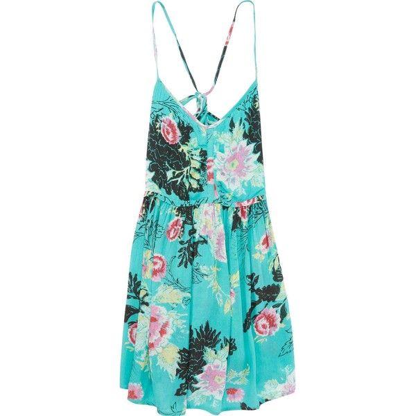 Billabong Women's Luv Confession Beach Dress found on Polyvore featuring dresses, jade, ruching dress, blue flower print dress, floral dress, billabong dress and blue ruched dress