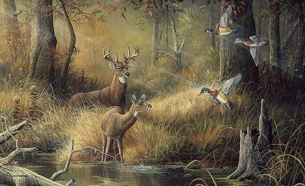 October Memories Deer Ducks Hunting Wallpaper Mural