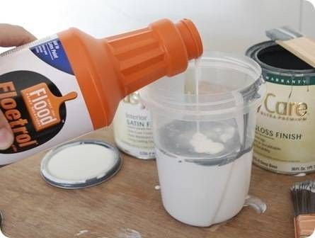 Use Floetrol in your paint when refinishing cabinets--- keeps it from streaking / leaving paint brush marks**.