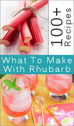 *STEWED RHUBARB -   Don't peel the deep pink stalks! Just wash them well, trim them and slice into three-quarters to one-inch lengths.  For each pound, add 1/4 cup water and cook, covered, in a heavy pan until barely tender. This takes about 5 minutes.  Add 1/2 to 1 cup sugar–to suit your taste–and cook until sugar is dissolved.  Stir it gently but be careful not to mash it to pieces.
