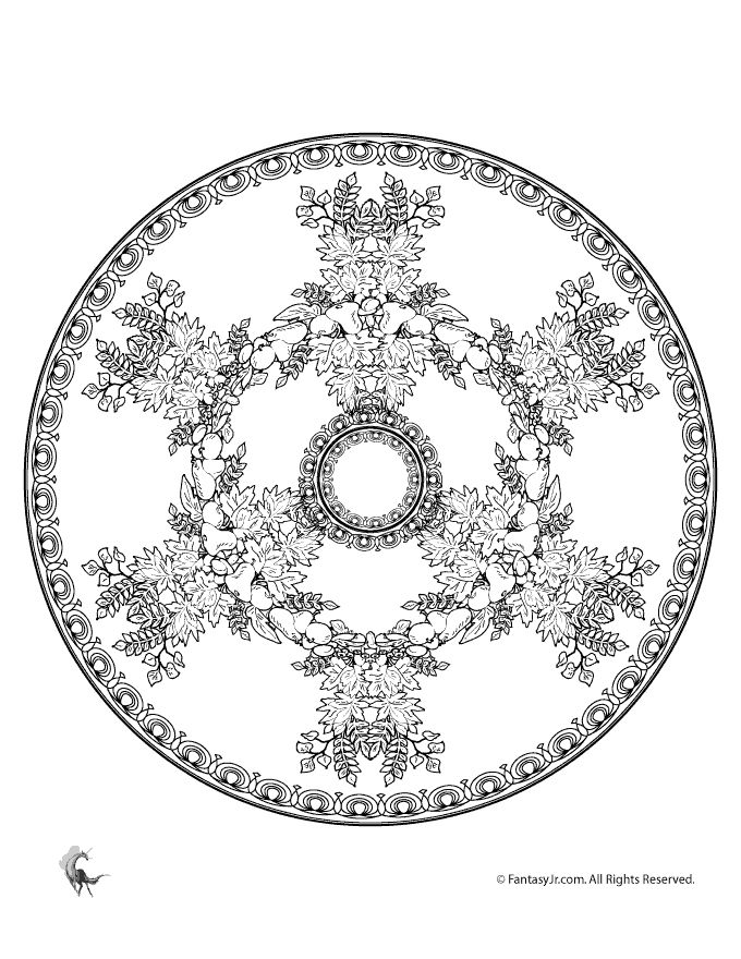 fall harvest mandala free coloring page