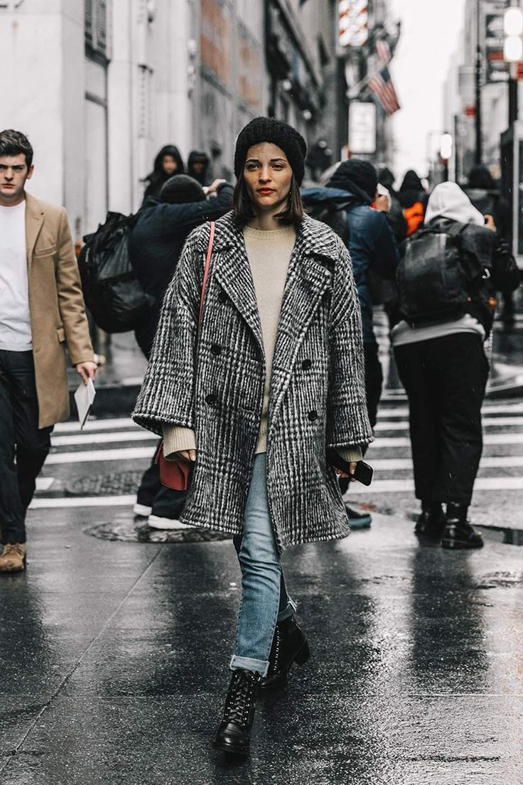 Street Style_Prince of Wales check coat paired with knitwear & light skinnies | Saved by Gabby Fincham |