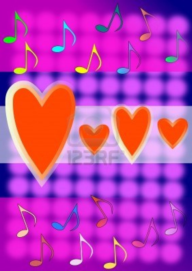 Colourful notes, red hearts
