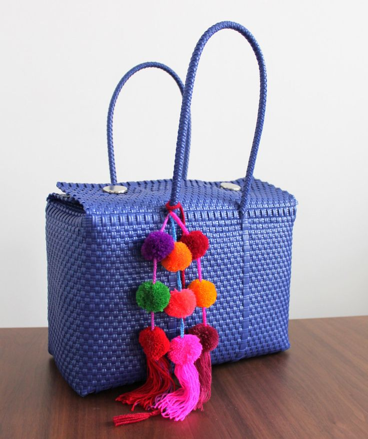 Blue mexican hand woven bag made of recycled plastic / boho hippie bag briefcase / mexican tote / bolsa de plastico reciclado by ChiapasbyJUBEL on Etsy https://www.etsy.com/listing/267291709/blue-mexican-hand-woven-bag-made-of