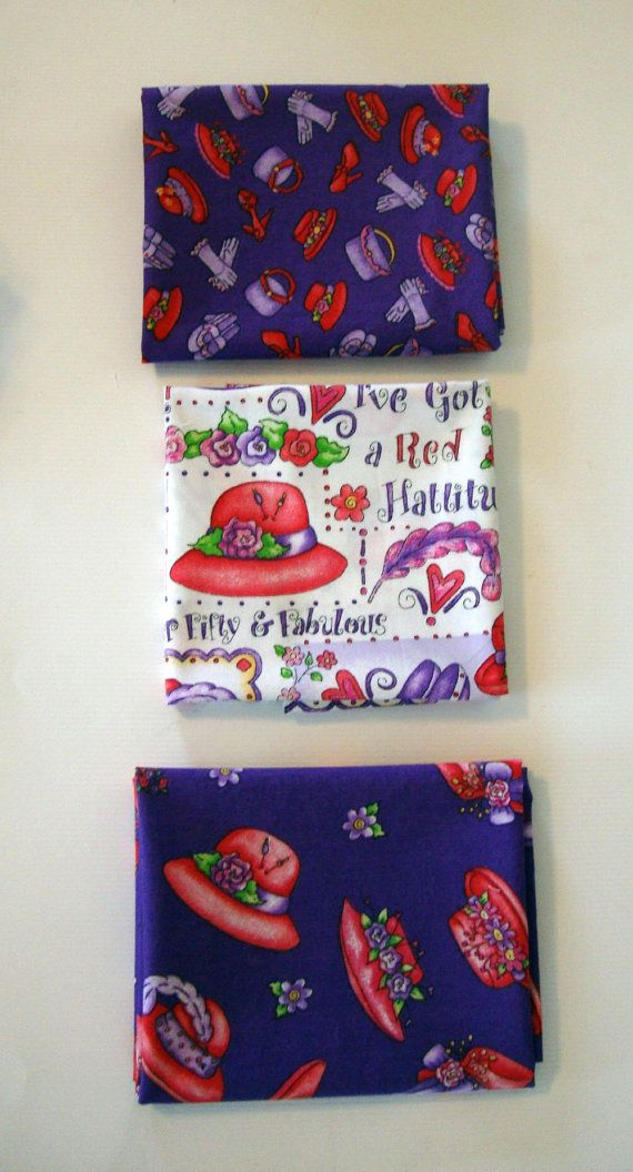 Red Hat Ladies   3 Fat Quarters of Fabulous Red Hat Sewing quilting by flyingdollar,