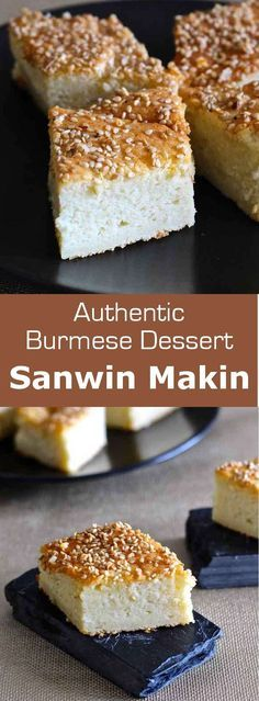 Sanwin makin is a delicious traditional Burmese cake prepared with coconut cream and semolina, often served in a diamond-shape.