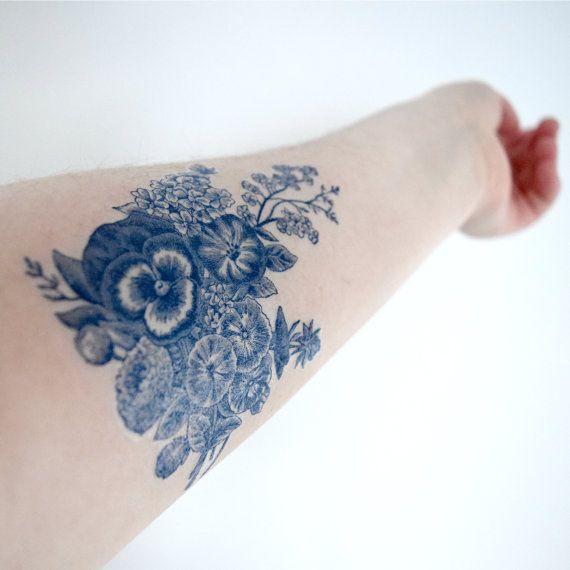 Floral vintage Dutch 'Delfts Blauw' Temporary Tattoo by Siideways