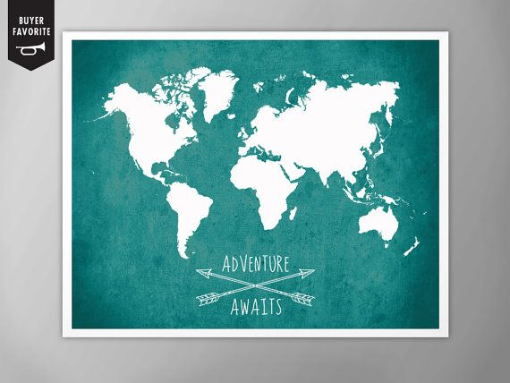 Best 25 world map art ideas on pinterest world maps world map listing is for adventure awaits world map art print customization customize with your favorite color gumiabroncs Images