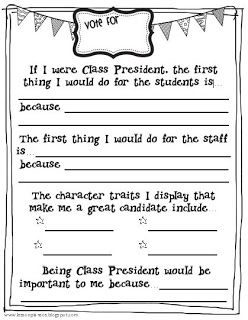 Class President lesson--great for teaching about the Presidential Election!