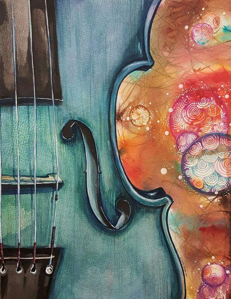 A Wash With Sound, watercolour by Claire Loughran Irish artist. fiddle, violin, music.