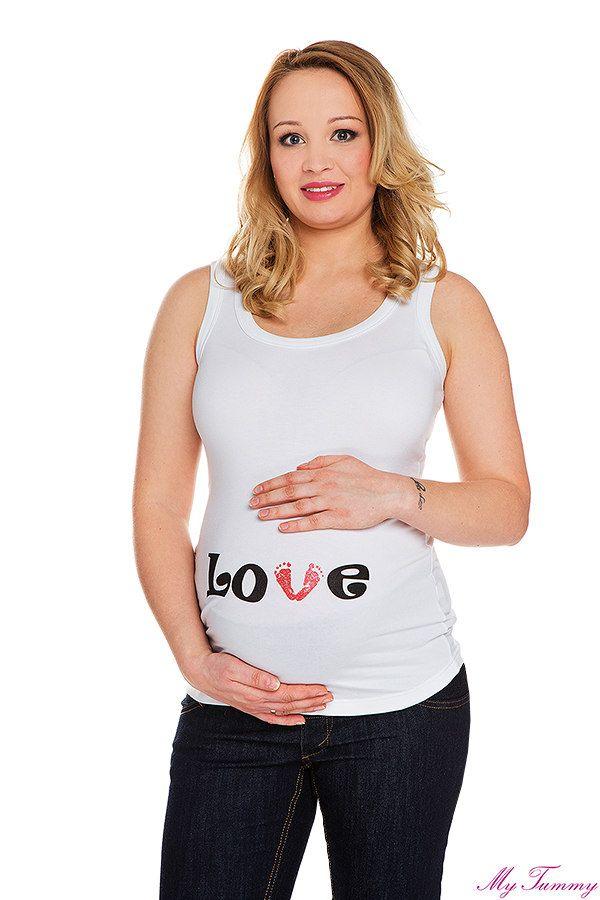 Koszulka ciążowa na ramiączka Love Stópki biała