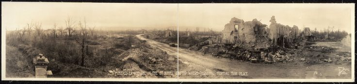 The ruins of Fresnes-en-Woevre after the Meuse-Argonne Offensive during WWI 1918. [3041 x 723]