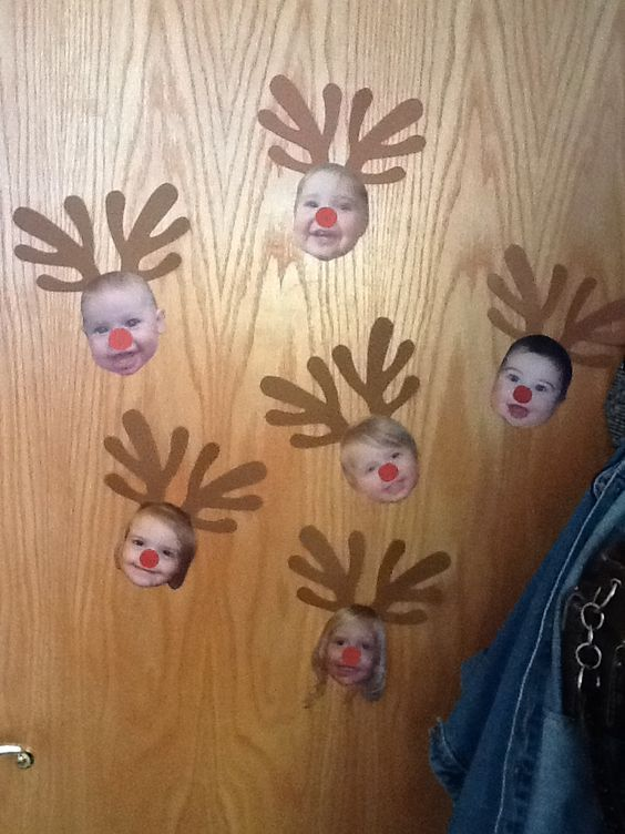 Reindeer children Christmas craft. Infant-toddler room.