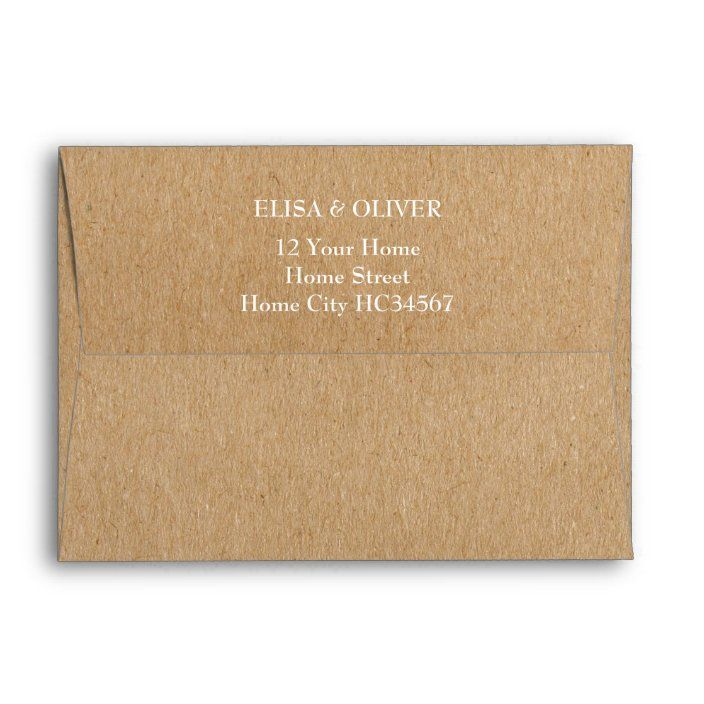 Rustic Kraft Return Address Envelope Zazzle Com Addressing Envelopes Custom Printed Envelopes Printed Envelopes