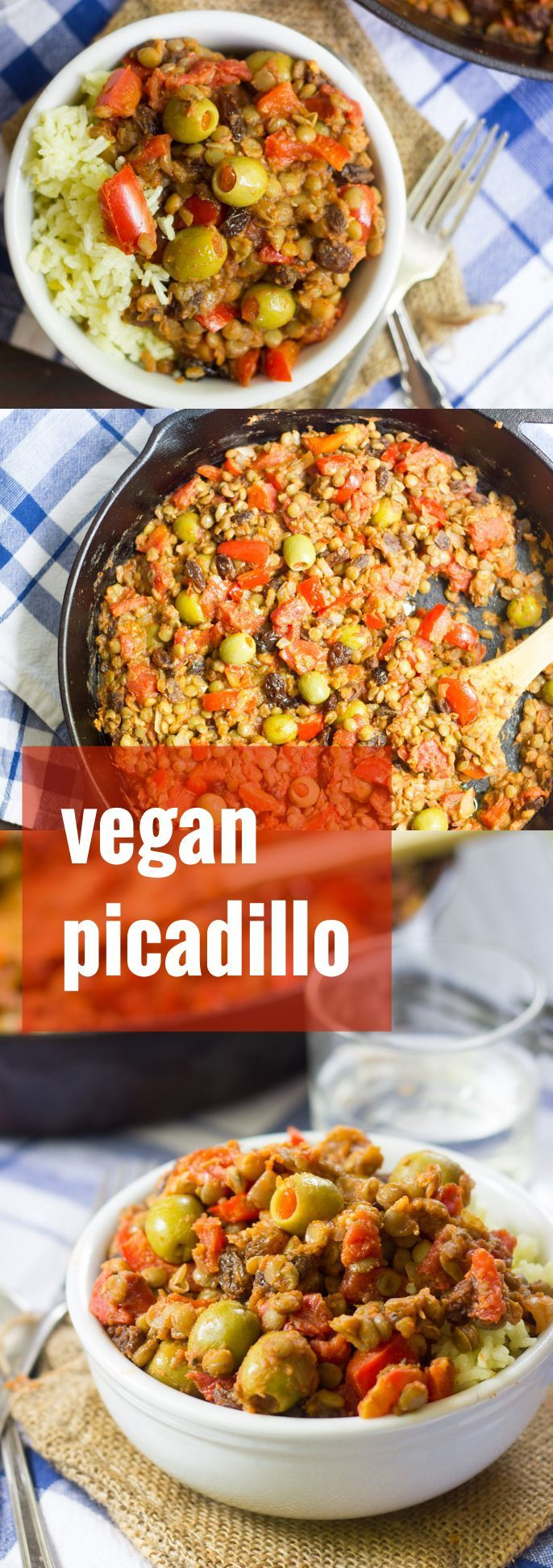 This vegan picadillo is made with spiced lentils simmered up with juicy tomatoes, bell peppers, sweet raisins and pimento-stuffed green olives. Serve over rice for a cozy, delicious and healthy meal!