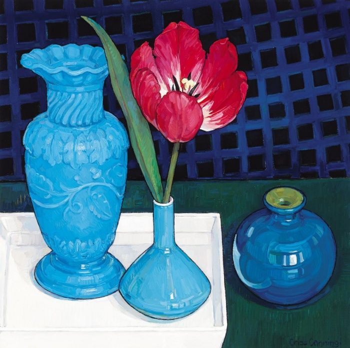 Tulip and Blue Composition