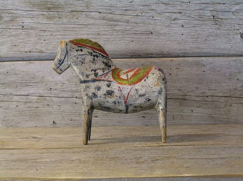 antique Dala horse   beautiful primitive art