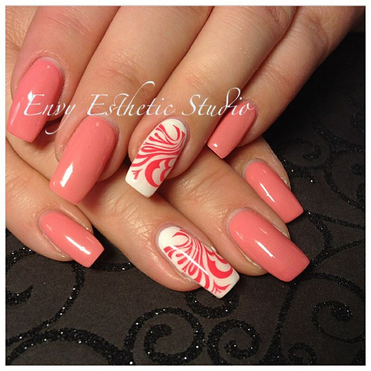 Coral gel nails {by Envy Esthetic Studio} www.facebook.com/EnvyEstheticStudio