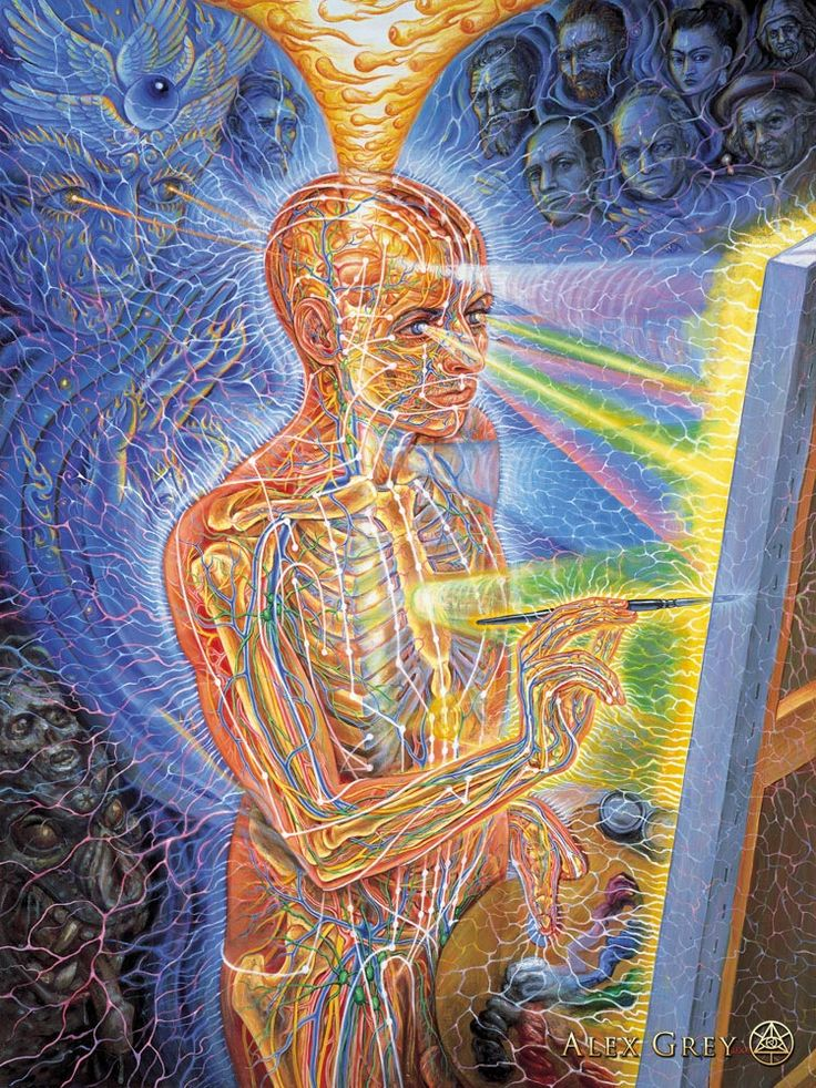 """Painting"" 1998 - Alex Grey - oil on linen - 30 x 40 in. - If one focuses on any part of any of Grey's paintings, there is a LOT going on within the composition, however when one steps back it becomes something entirely different."
