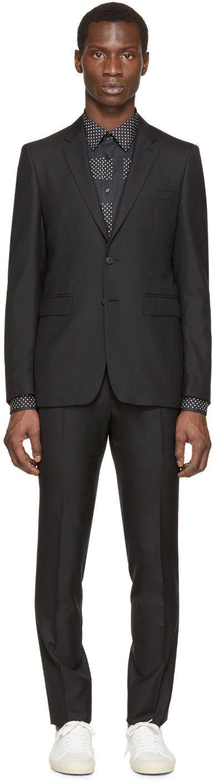 Burberry London Black Wool Slim-Fit Suit