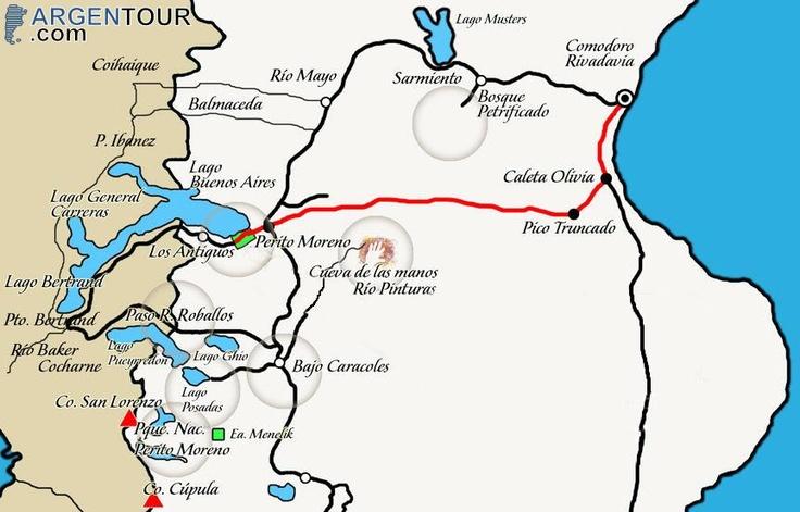 Mapa de Cuevas de las Manos.