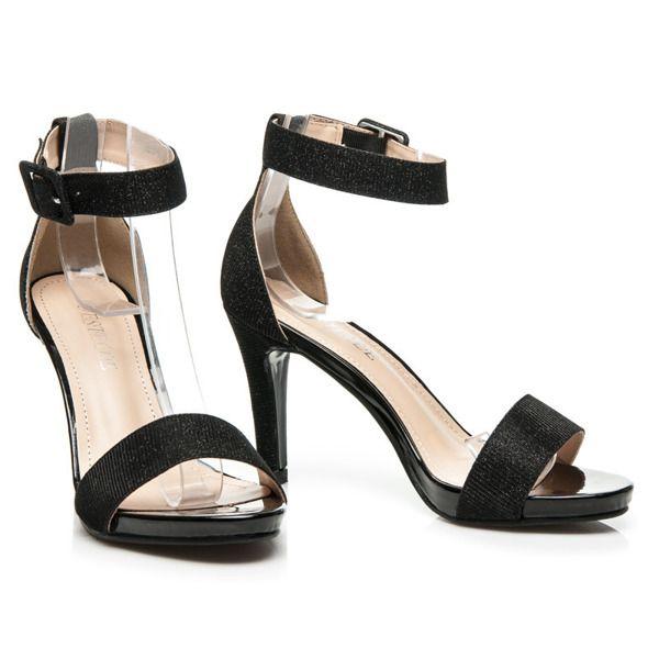 Czarne brokatowe sandały na obcasie
