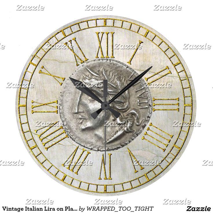 Vintage Italian Lira on Plaster Large Clock