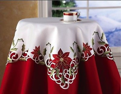 Poinsettia Flowers Embroidered White Tablecloth Table Topper Christmas Holiday   eBay