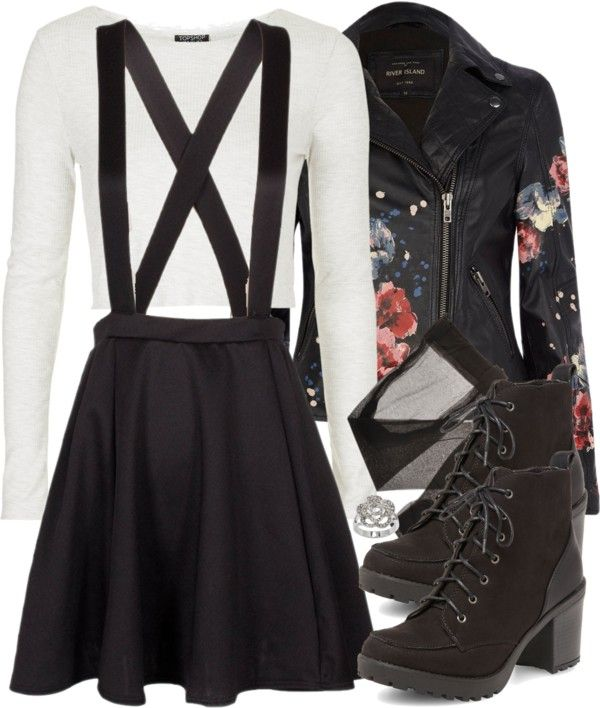 TEEN WOLF Kira Inspired Semi-Formal Outfit by veterization featuring a floral jacket Topshop slim shirt / River Island floral jacket, $150 / Circle skirt / Lingerie stocking / Dorothy Perkins chunky heel boots...