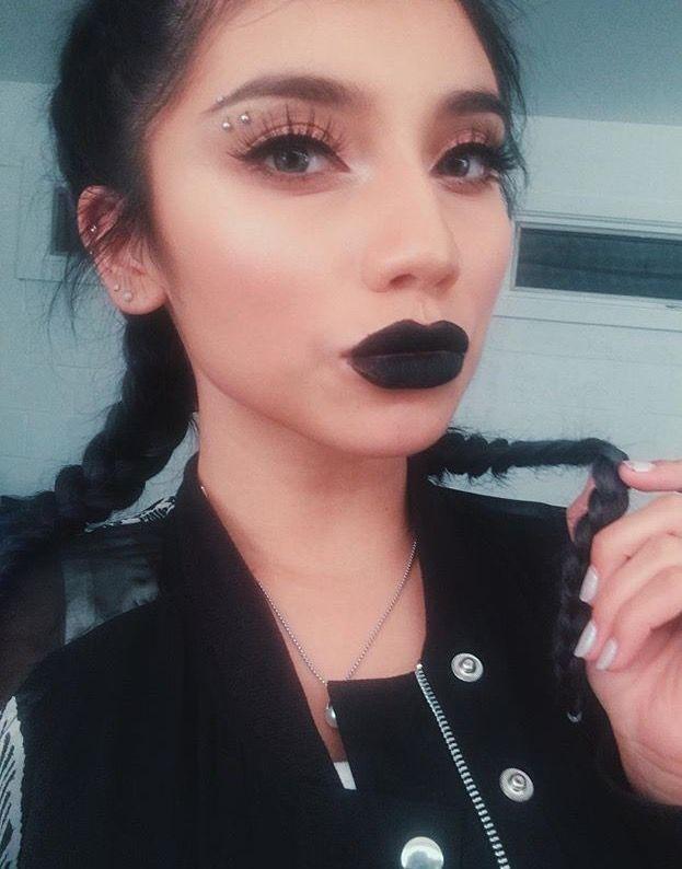 Kirstie, dark, dark lipstick, black, braids
