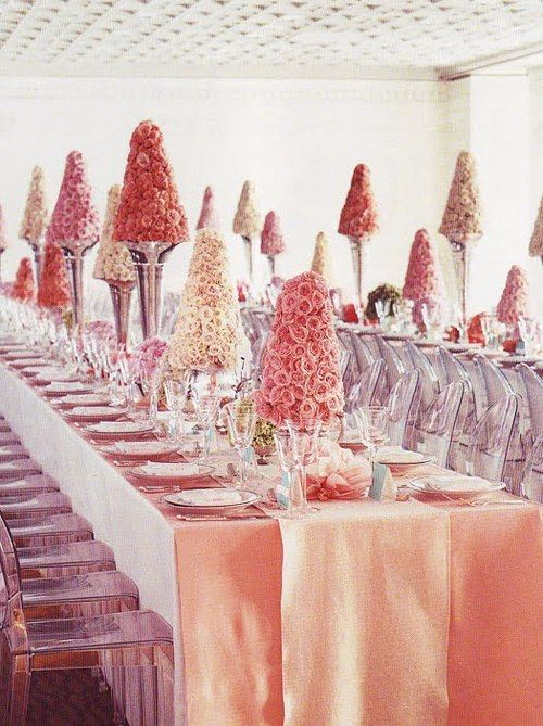 Pink party table setting: Tables Sets, Silk Flowers, Colors Wedding, Pink Centerpieces, Parties Ideas, Ghosts Chairs, Martha Stewart, Pink Rose, Wedding Centerpieces