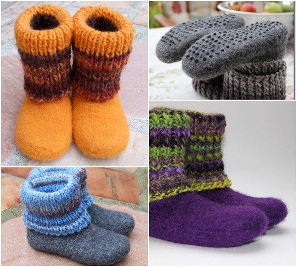 Stiefel stricken und filzen mit Umschlag