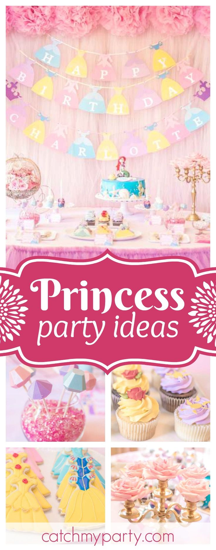 Take a look at this wonderful princess birthday party! The dessert table is so pretty!! See more party ideas and share yours at CatchMyParty.com