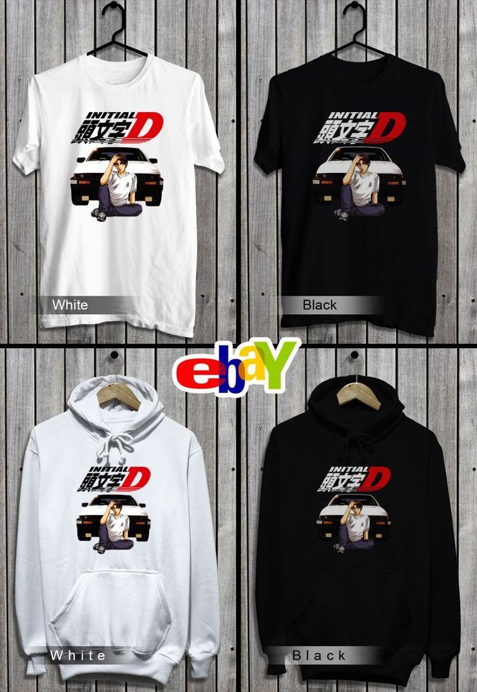 bea3233d initial D anime T-Shirt-Sweatshirt-Hoodie Top New Color Black And White