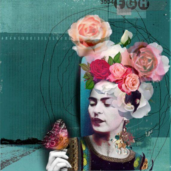 Frida Kahlo ispirato Art collage Differenza di stardustcollageart