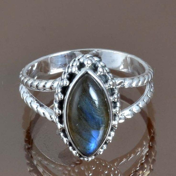 NEW DESIGN 925 STERLING SILVER LABRADORITE RING 4.99g DJR9061 SZ-9.5 #Handmade #Ring