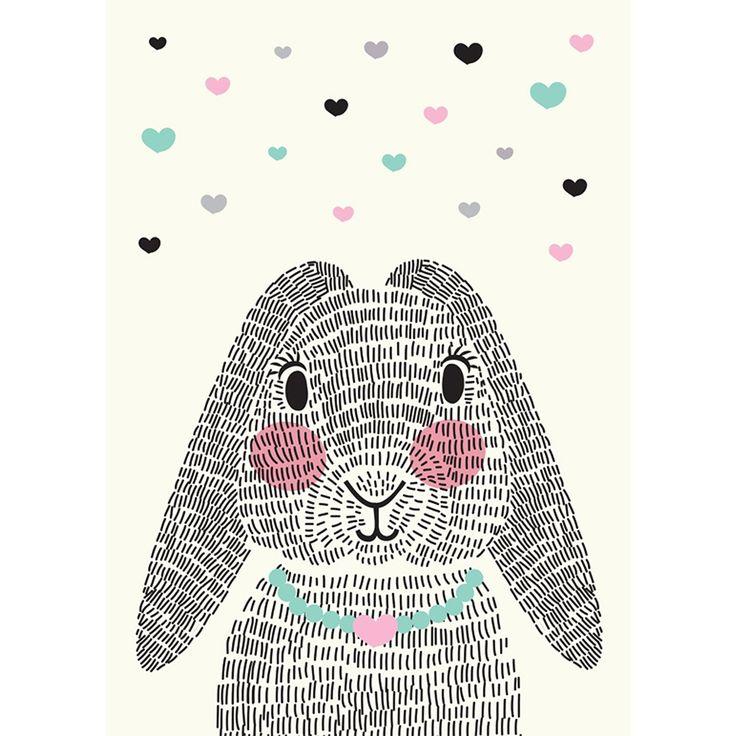 Sparkling Paper Poster Mrs Rabbit - 30 x 42 cm