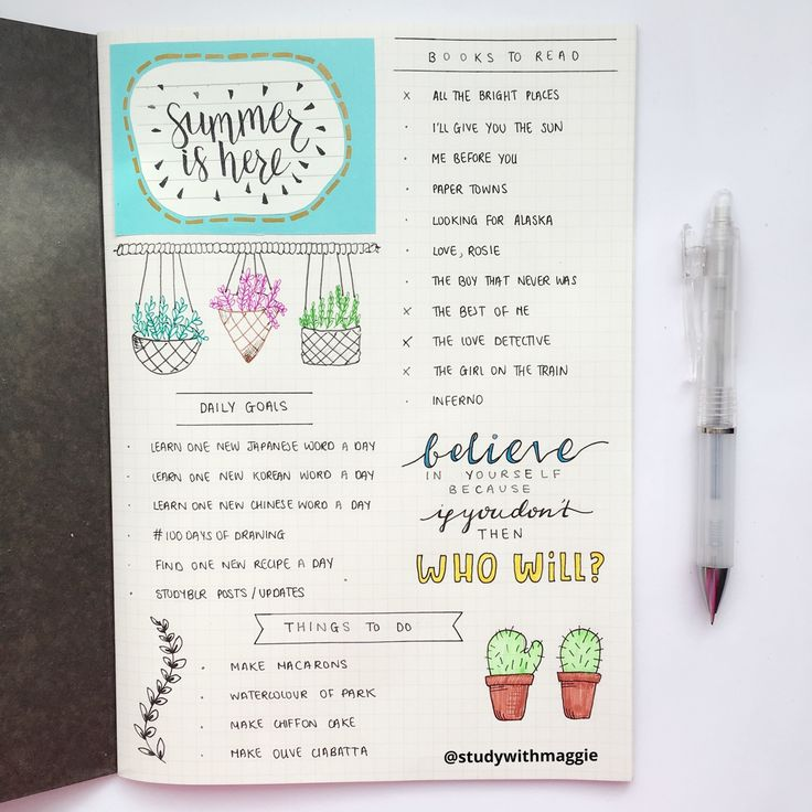 "studywithmaggie: "" 30.06.16 - summer started yesterday! so here's the first page of my summer journal! (≧◡≦) """