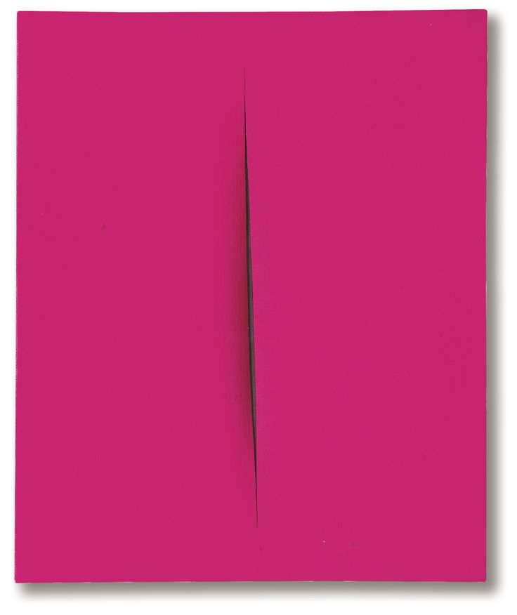 Lucio Fontana 1899 - 1968 CONCETTO SPAZIALE, ATTESA SIGNED, TITLED, DEDICATED AND INSCRIBED ON THE REVERSE, WATERPAINT ON CANVAS. EXECUTED IN 1964