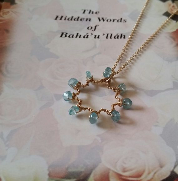 Apatite 14k Goldfilled Nine-Pointed Star Wirewrapped Bah�'� Star Pendant Necklace