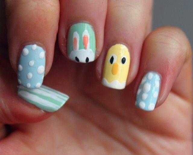 Pastel Easter Chick Nails, DIY Easter Nail Designs, how cute!