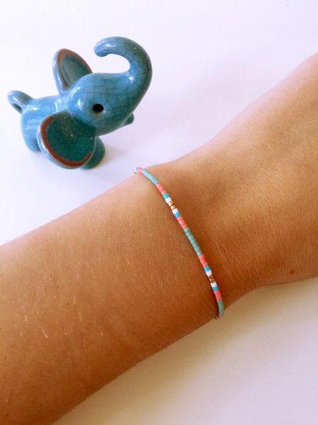 Perlenarmbänder - Armband Perlen Rosa Mint Gold Freundschaftsband  - ein Designerstück von bolle221 bei DaWanda