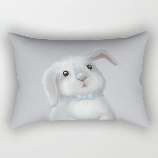 White Rabbit Boy Rectangular Pillow on @society6 Buy print and other product with my fine art  online:  https://society6.com/oxygen White cute bunny rabbit Digital illustration for kids isolated on white #Animals #ArtForHome #FineArtPrints #InteriorDesign #OksanaAriskina  #HomeDecor #FineArtPrint #Wall #PrintsForSale  #Illustration #Watercolor #WallArt