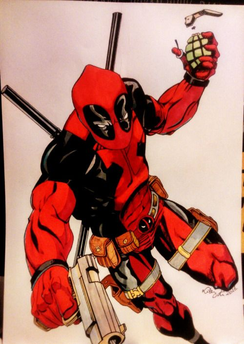 My first (but probably not the last) Deadpool drawing