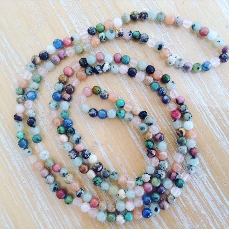 Apatite, Blue Kyanite, Rose Quartz, Morganite, Kiwi Jasper, Rhodonite and Grass Flower - 4mm bead necklace