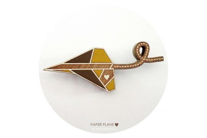 Paper Plane ♥ Brooch {Yellow} by LANDI KUHN Functional Art & Design on hellopretty.co.za